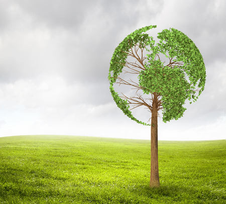 liked: Green tree shaped liked our Earth planet  Environmental concept