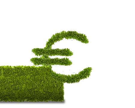 Conceptual image of green plant shaped like euro symbol photo