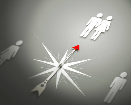 competent: Conceptual image of compass pointing the direction