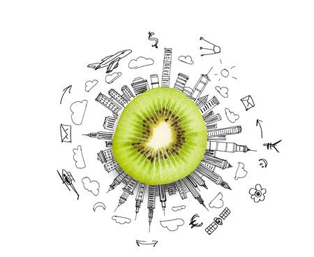 kiwi fruta: Kiwi medio contra el fondo de bocetos de negocio