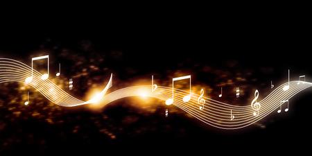 Conceptueel beeld met muziek sleutel en nota's