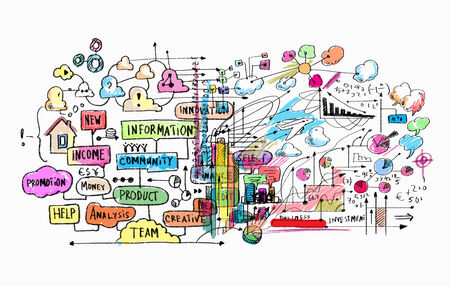 Hand drawn background with business sketches and ideas Reklamní fotografie