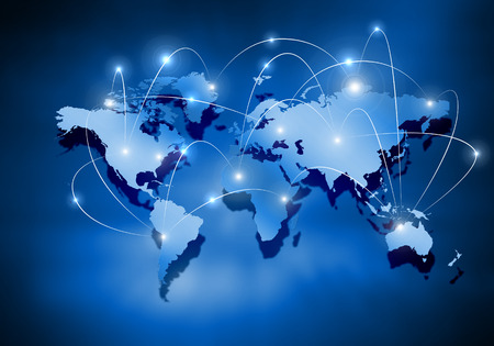 Media blue background image with world map Stock Photo