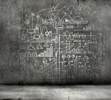 Background image with business strategy sketch on black wall photo
