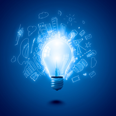 Conceptual image of electric bulb with business sketches photo