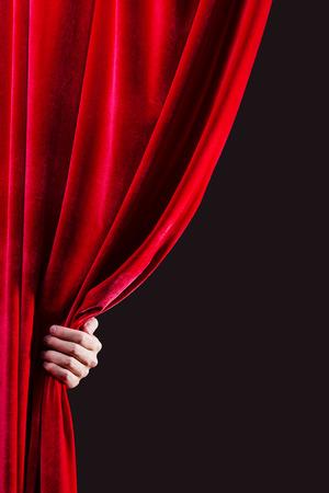 Cierre de la apertura a la cortina roja Lugar para el texto