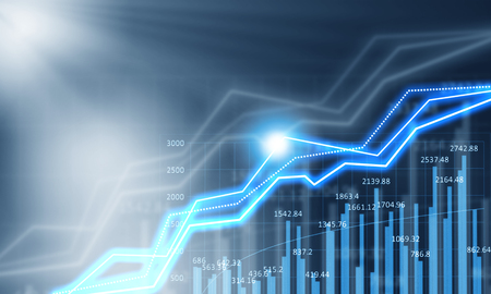 Background media blue image with digital graphs and icons
