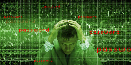 secure brake: Conceptual image of troubled man against media screen with binary code