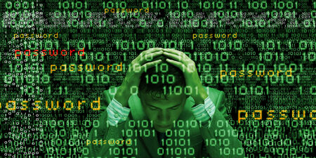 Conceptual image of troubled man against media screen with binary code photo