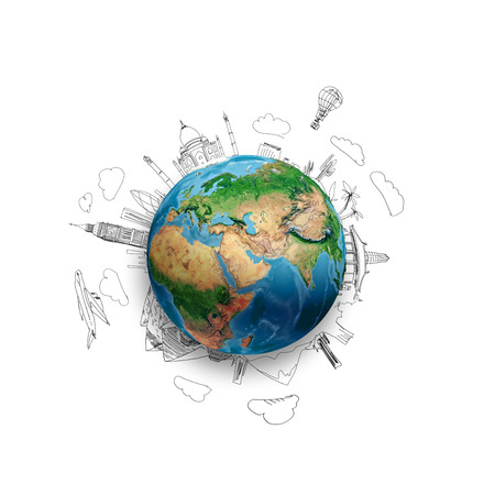 Earth planet on white background with pencil sketches  Elements of this image are furnished by NASA