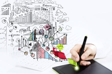 Close up of human hand drawing business strategy plan photo