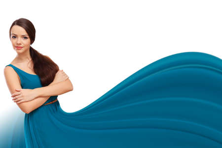 Beautiful young woman with a dress like a wave of colour liquid Stock Photo - 26276168
