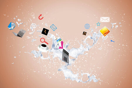 offiice: Conceptual image with business items flying in air Stock Photo