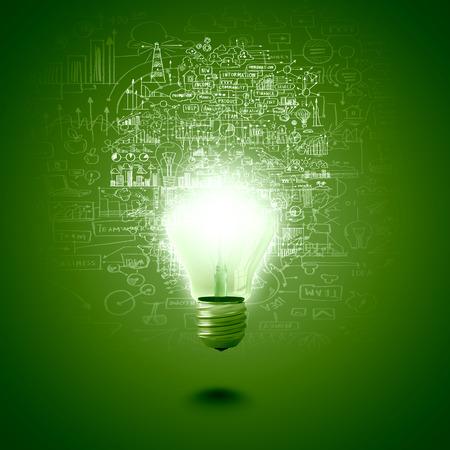 녹색 배경에 전구의 개념적 이미지 스톡 콘텐츠
