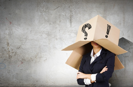 boxy: Businesswoman wearing carton box with marks on head