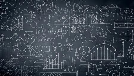 signos matematicos: Antecedentes imagen conceptual con bocetos de negocios en la pizarra Foto de archivo