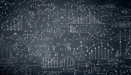 theorem: Background conceptual image with business sketches on chalkboard Stock Photo