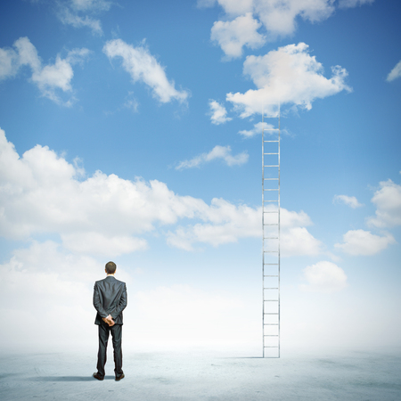 corporate ladder: Rear view of businessman standing near ladder going high in sky Stock Photo