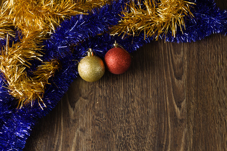 Background Christmas image with decoration balls and tinsel  Place for text photo