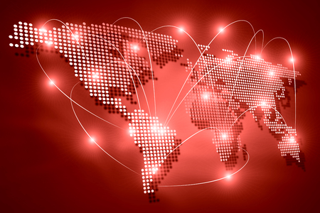 Background digital image of world map with connection lines photo