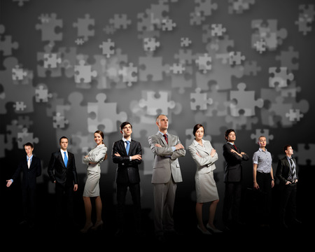Image of business team standing in line  Cooperation and interaction photo