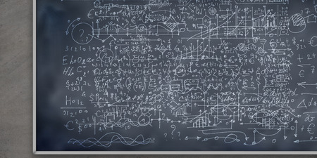 conceptual image with business sketches on chalkboard Stock Photo