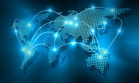 Background image numérique de la carte du monde avec des lignes de connexion