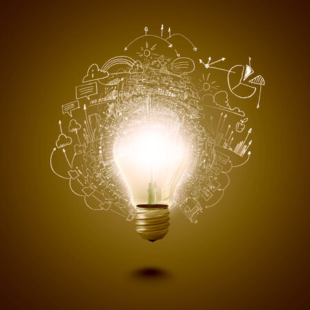Conceptual image of electric bulb against yellow background