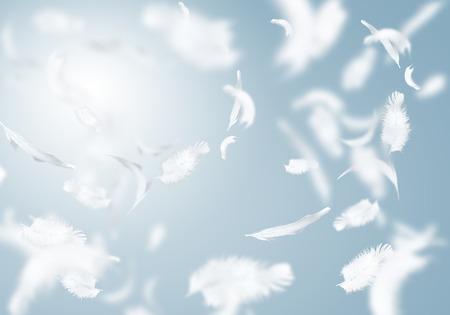 Abstracte achtergrond afbeelding van witte veren vliegen in de lucht