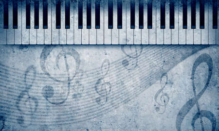 Conceptual image with piano keys and music clef photo