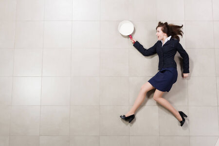 woman handle success: Funny image of running businesswoman with pan in hand Stock Photo
