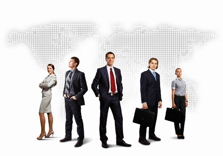 Image of businesspeople standing against world map background Stock Photo - 27260420
