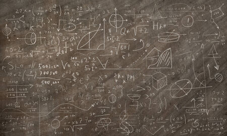 formulae: Background image of blackboard with science drawings Stock Photo