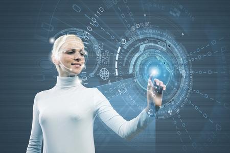 Woman in white touching icon of media screen photo