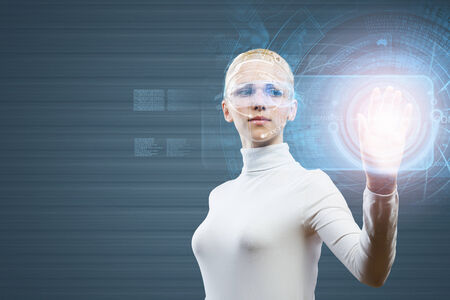 telecommunicate: Woman in white touching icon of media screen