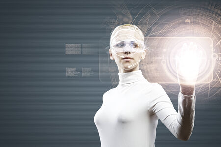Young woman in white touching icon of media screen photo