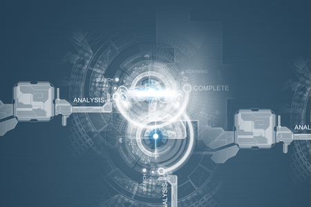 Conceptual background image with media icons on screen Фото со стока
