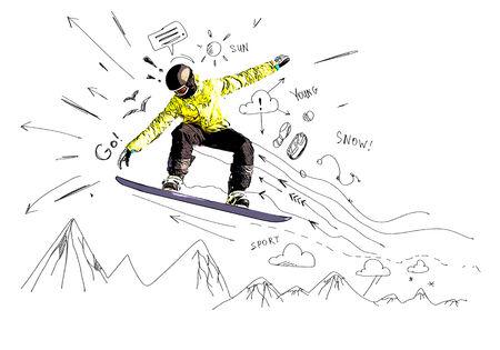 スノーボーダーの手図面スケッチのクローズ アップ
