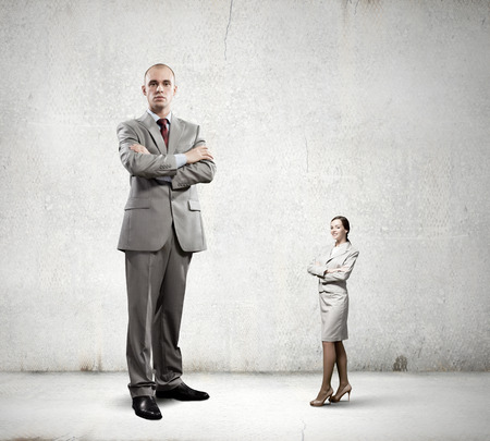 Businesspeople of various sizes  Business relations concept photo