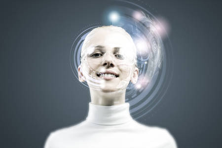 Young woman in white with hologram round head photo