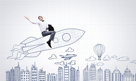 man in air: Young businessman,an flying in sky on drawn rocket Stock Photo