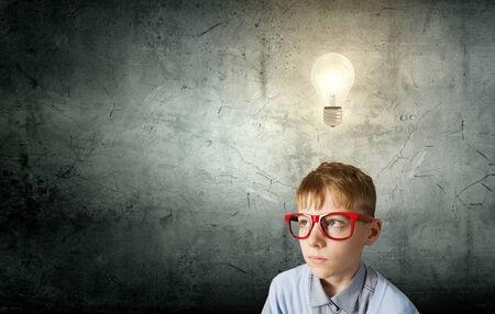 Boy of school age in glasses  Idea concept Stock Photo - 29027452