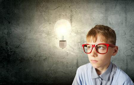 Boy of school age in glasses  Idea concept Stock Photo - 29076422