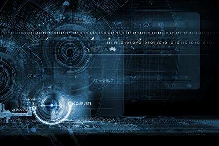 技术: 數字3D圖標的背景概念圖像