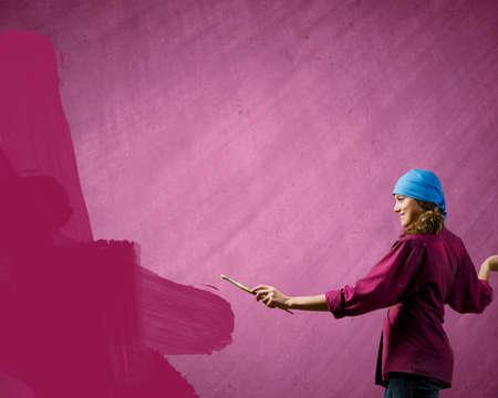 bandana girl: Young girl painter with brush wearing bandana