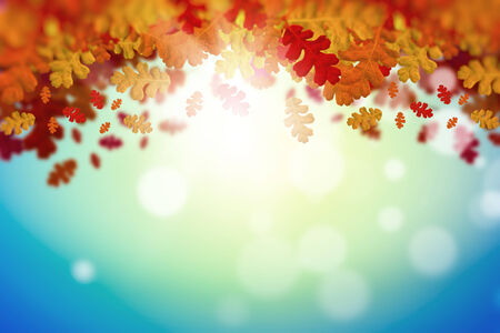 Background image with autumn leaves  Place for text photo