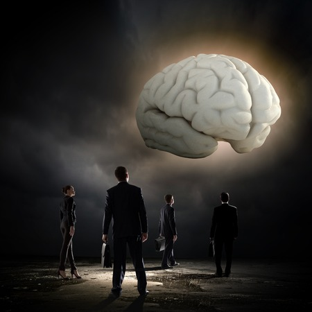 solver: Huge human brain and many little businesspeople around