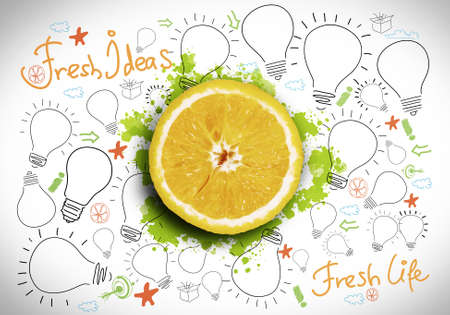 vitamin c: Conceptual image with orange against white background