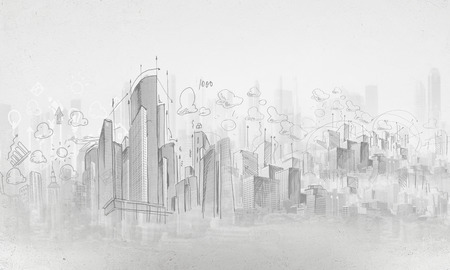 building sketch: Background image with urban construction pencil sketch