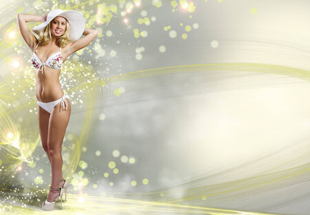 Young woman in white bikini against color background photo